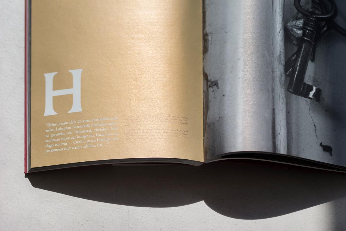 Labraza harresi bizia Diseño editorial imagen identidad corporativa interior