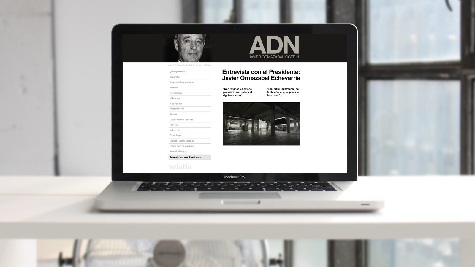 Javier Ormazabal Velatia ADN Web branding Comunicación corporativa Audiovisual Fotografía