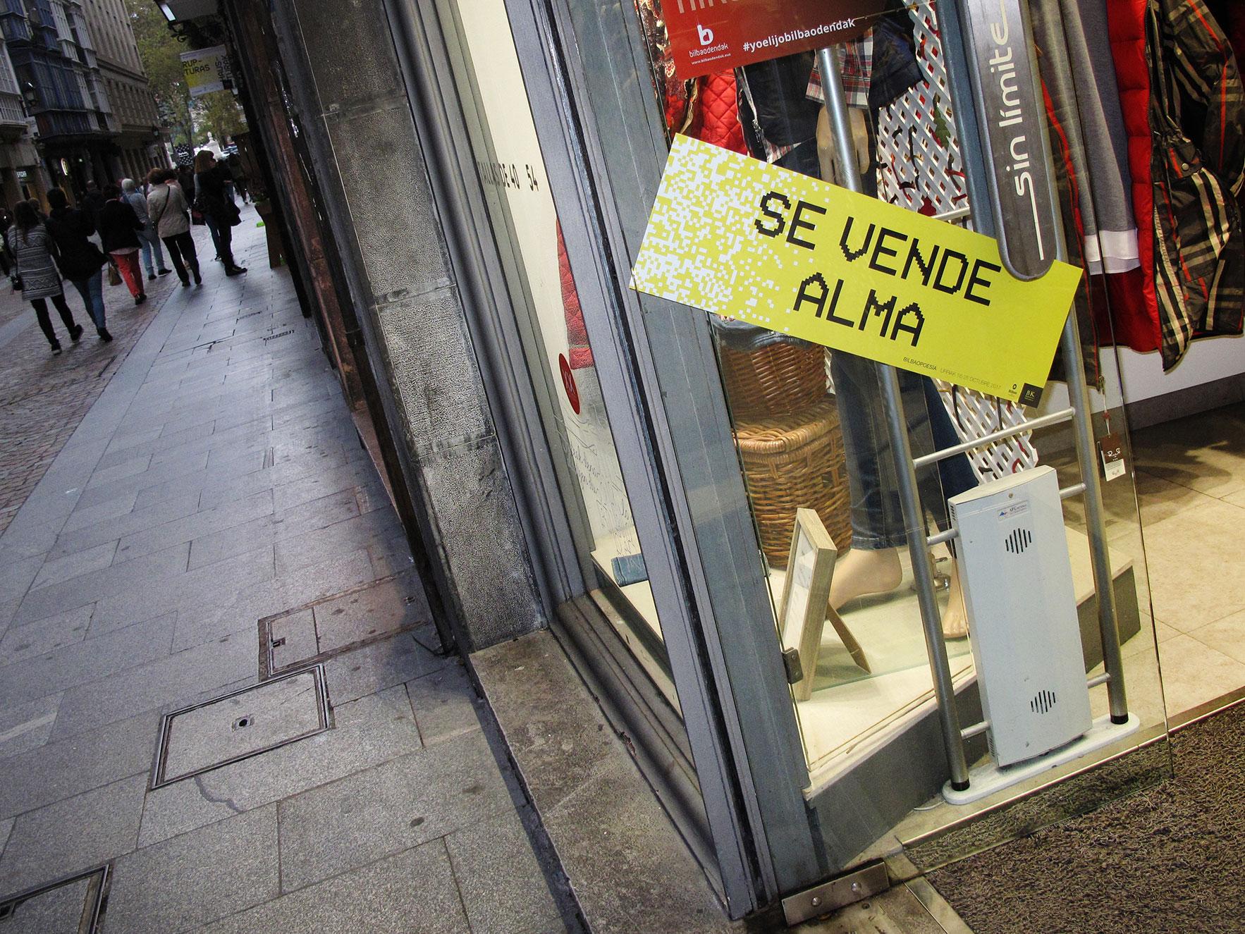 Bilbao poesía escaparate tienda calle