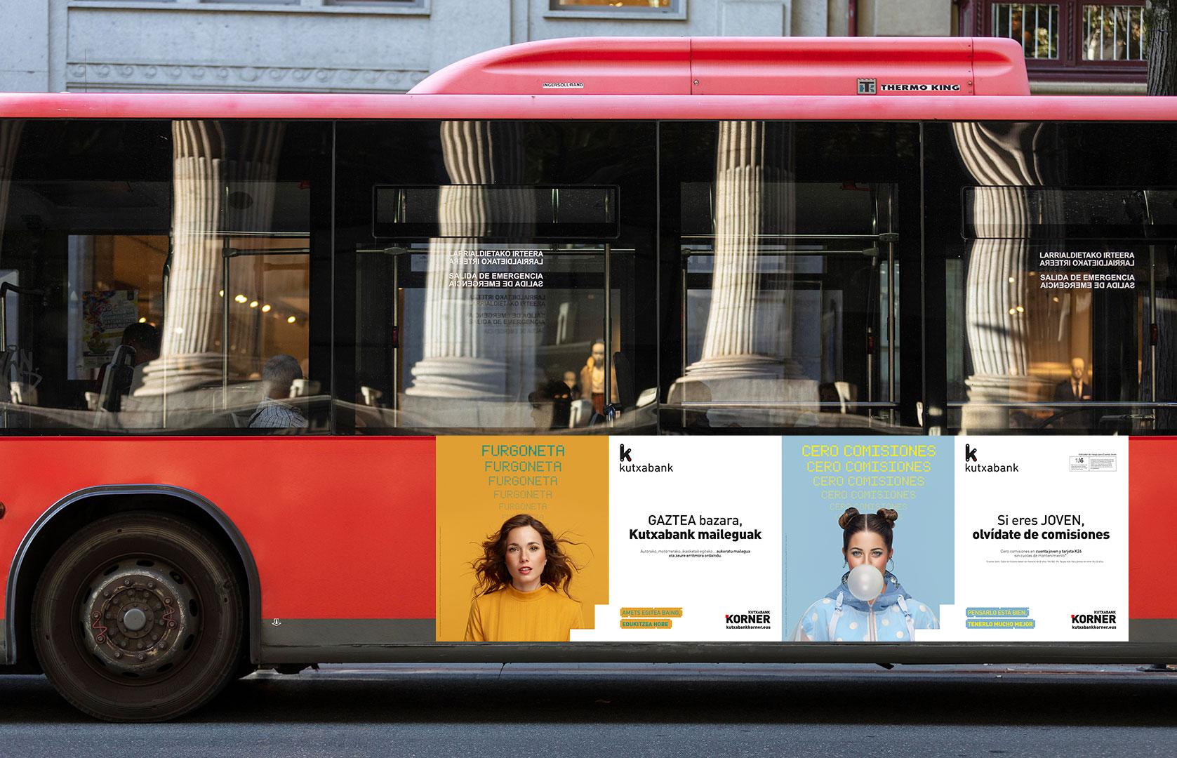 Kutxabank korner publicidad Autobus Bilbao Comunicación corporativa Estrategia de marca